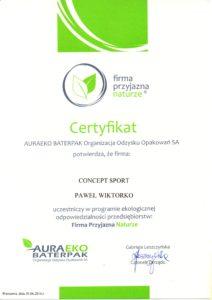 Certyfikat Firma Przyjazna Naturze